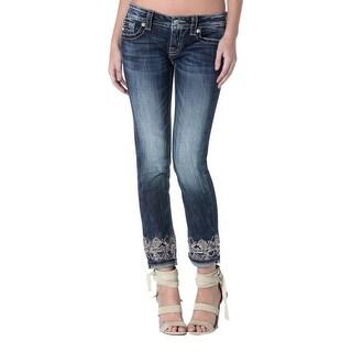 Miss Me Denim Jeans Womens Aztec Cuffed Skinny Dark Wash JP8734CK