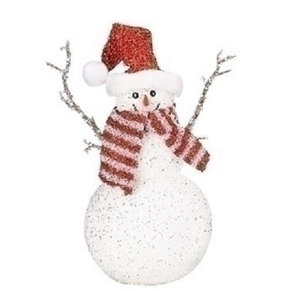 """11"""" Sparkling Snowman with Santa Hat and Scarf Tabletop Decoration"""