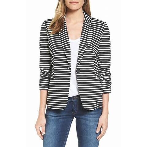 Olivia Moon Womens Blazer Large Striped Single-Button