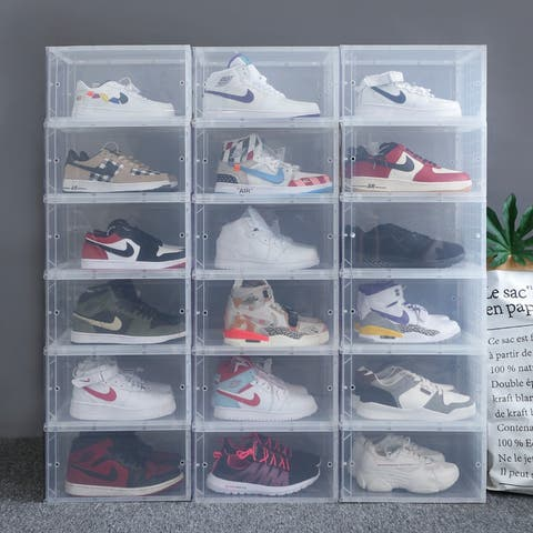 Shoebox Storage Box, Foldable And Stackable Plastic