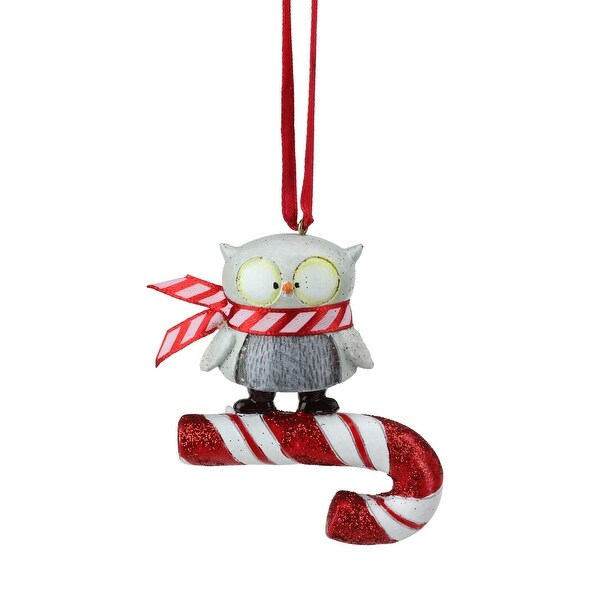 "3"" Peppermint Twist Decorative Owl on Ribbon Candy Christmas Ornament - RED"
