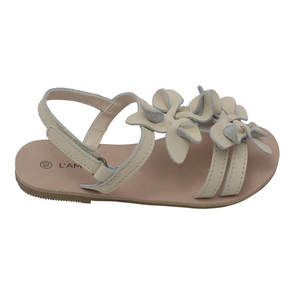 LAmour Girls White Flower Blossom Accent Buckle Thong Sandals 7-10 Toddler