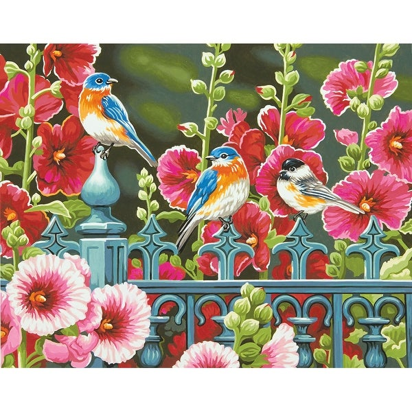 """Paint Works Paint By Number Kit 14""""X11""""-Hollyhock Gate"""