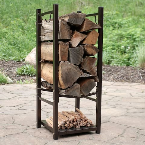 Sunnydaze Indoor-Outdoor Firewood Fireside Log Rack with Tool Holders - Bronze - Bronze Bronze