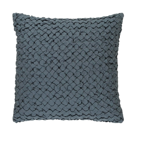 "20"" Haze Gray Angled Weave Decorative Square Throw Pillow - Down Filler"