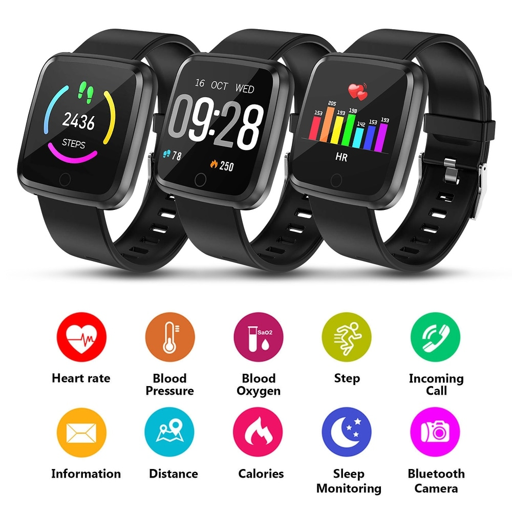 "1.3 inch Large Touch Screen Smartwatch w/ Blood Pressure, HR, Sleeping Monitor, Tracker Pedometer - 7'10"" x 9'13"" (Yellow - 7'10"" x 9'13"")"