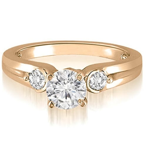 0.70 cttw. 14K Rose Gold Three-Stone Round Cut Diamond Engagement Ring
