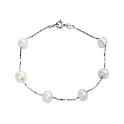 Minimalist Bridal Station Tin Cup White Freshwater Cultured Pearl Round Link Bracelet For Women 925 Sterling Silver