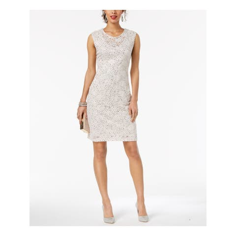 CONNECTED APPAREL Womens Ivory Sequined Lace Floral Sleeveless Jewel Neck Above The Knee Sheath Prom Dress Size: 14