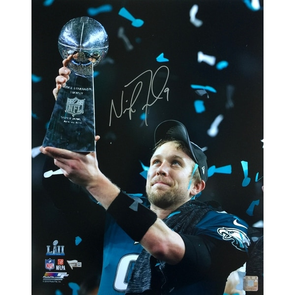 f999f0f2b Nick Foles Signed 16x20 Philadelphia Eagles Super Bowl 52 Trophy Photo  Fanatics