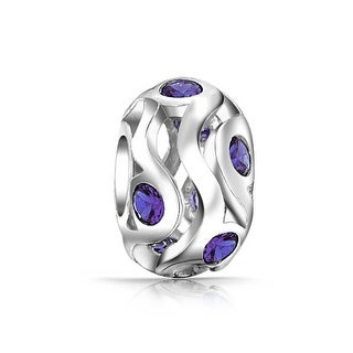 Bling Jewelry Sterling Silver Purple CZ Bead Charm