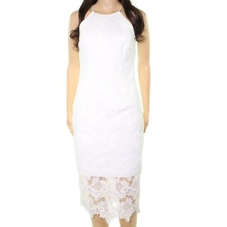 Betsy & Adam White Womens Size 2 Floral Lace Halter Sheath Dress