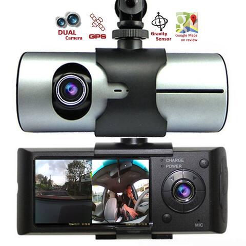 "Indigi® XR300 CarDVR (Front+Rear) Dual Camera DashCam Driving Recorder w/ 2.7"" Split LCD + GPS Tracker + 32gb microSD Included"