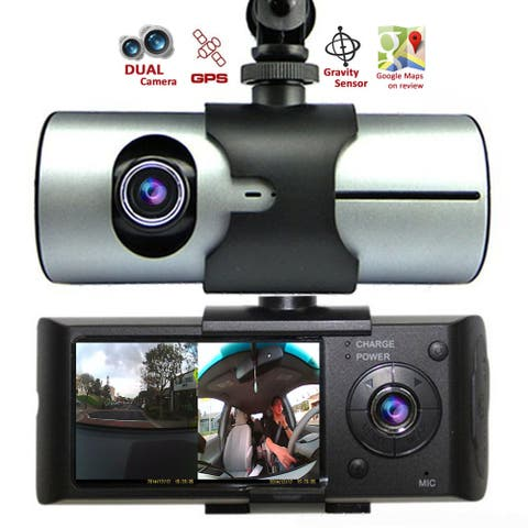 """Indigi® XR300 Dual Camera (Front+Rear) Car DVR DashCam Driving Recorder with 2.7"""" Split Screen LCD w/ GPS Tracker Included"""