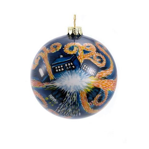 Doctor Who Starry Night Tardis Painted Glass Ball
