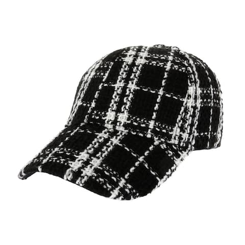 Top Headwear Plaid Tweed Two-Tone Baseball Cap