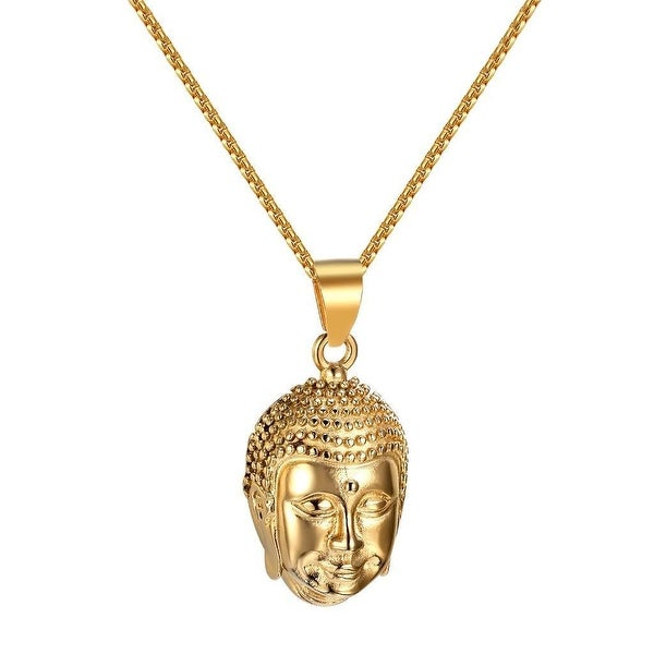 Buddha Head Pendant 14k Gold Tone Stainless Steel Hip Hop Rapper Wear Necklace