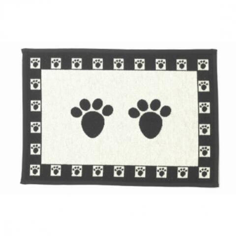 PetRageous Designs 10209 Paws Tapestry Placemat, Natural/Black
