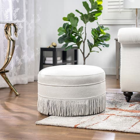 Yolanda Tufted Velvet Round Footstool Ottoman by Jennifer Taylor Home