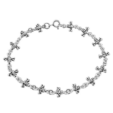 Handmade Whimsical Chain of Little Bees Sterling Silver Charm Bracelet (Thailand)