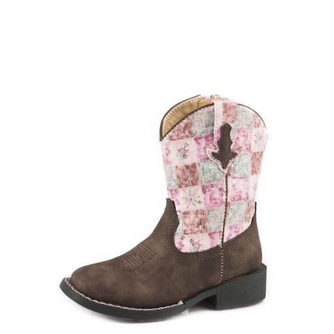 Roper Western Boots Girls Floral Shine Zip Brown