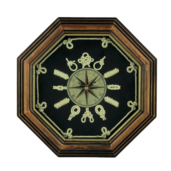 Wood Frame Nautical Knotboard Compass Rose Wall Clock - 11.5 X 11.5 X 1.13 inches