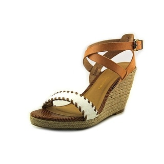 Chinese Laundry Paradise Women Open Toe Leather Brown Wedge Sandal