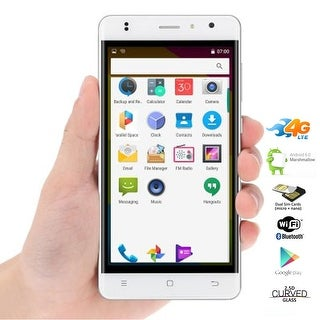 Indigi Stylish 4G LTE Unlocked Quad-Core 5in Smart Cell Phone Android 6.0 White