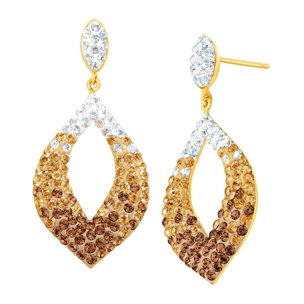 Crystaluxe Open Drop Earrings With Swarovski Crystals in Gold-Plated Sterling Silver - Brown