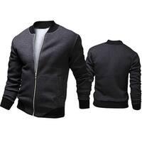 Men's Autumn Casual Jacket Long Sleeve Zipper Pockets Sport Outwear Coat