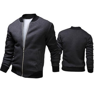 Men's Autumn Casual Jacket Long Sleeve Zipper Pockets Sport Outwear Coat