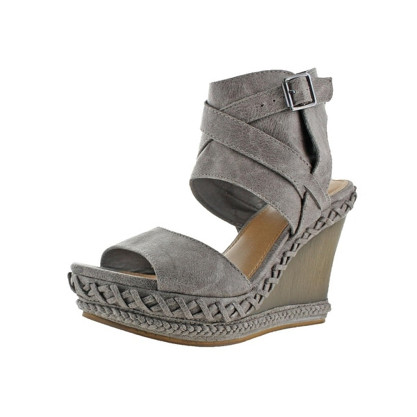Not Rated Womens Lubbock Wedge Sandals Faux Leather Ankle Wrap
