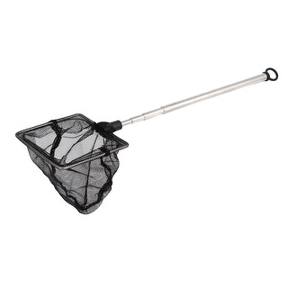 Unique Bargains 2.8  x 2.4  x 2.8  Stainless Steel Square Handle Landing Net Fishing Mesh Gold Shrimp Black Silver Tone