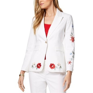 Link to Nine West Womens Embroidered Floral One Button Blazer Jacket Similar Items in Suits & Suit Separates