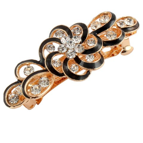 Women Metal Swirl Floral Design Hairstyle French Hair Clip Barrette - Black