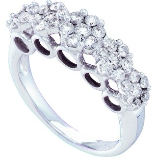 1 1/2Ctw Round Diamond Ladies Flower Ring White-Gold 14K