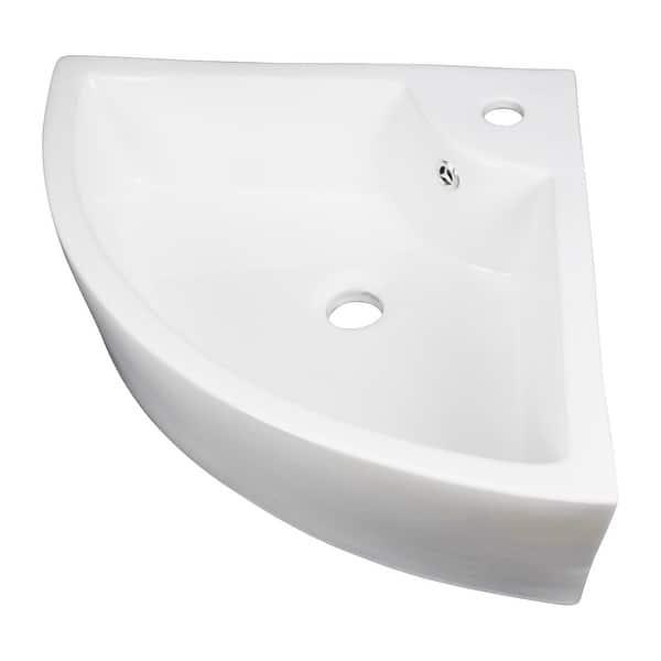 Small Bathroom Corner Sink Above Counter Angled Vessel