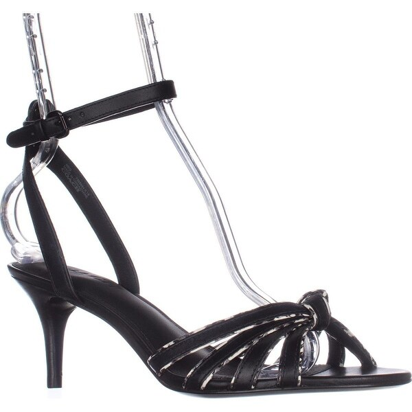 Coach Meg Ankle-Strap Dress Sandals, Black/Black/White