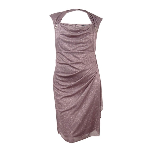 R&M Richards Women\'s Plus Size Ruched Glitter Chiffon Dress - Mocha