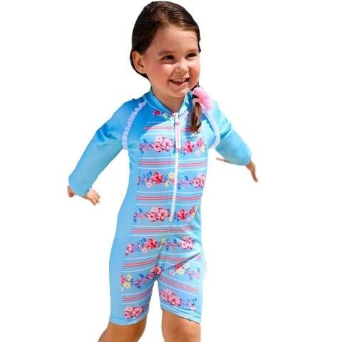 Sun Emporium Baby Girls Sky Blue Pink Long Sleeve Front Zip Sun Suit