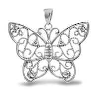 Bling Jewelry .925 Sterling Silver Filigree Butterfly Pendant Cubic Zirconia