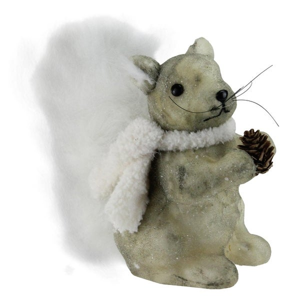 "10"" Gray Squirrel in a White Scarf Christmas Table Top Figure Decoration"