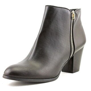 Style & Co Jamila Zip Bootie Women Round Toe Leather Black Ankle Boot