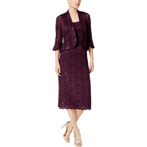 R&M Richards Womens Dress With Jacket Lace Special Occasion