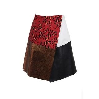 Josh Goot Womens Faux-Wrap Mixed Media A-Line Skirt - XS