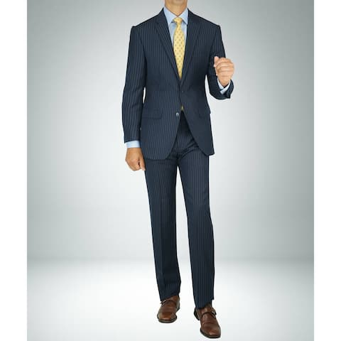 Carlo Studio Navy Blue Pinstripe Modern-Fit Suit