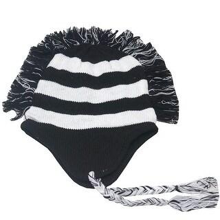 Girls Black White Stripe Fringed Mohawk Earflap Braided Tassel Beanie