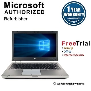 "Refurbished HP EliteBook 8460P 14"" Laptop Intel Core i5-2520M 2.5G 16G DDR3 240G SSD DVDRW Win 10 Pro 1 Year Warranty - Silver"