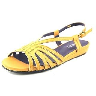 Vaneli Bitya Women W Open-Toe Leather Tan Slingback Sandal