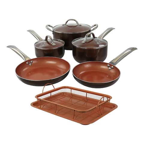 Copper Pan Cooking Excellence 10 Piece Nonstick Cookware Set in Copper - 10 Piece